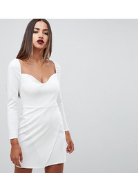 ASOS DESIGN Long Sleeve Sweetheart Wrap Mini Dress