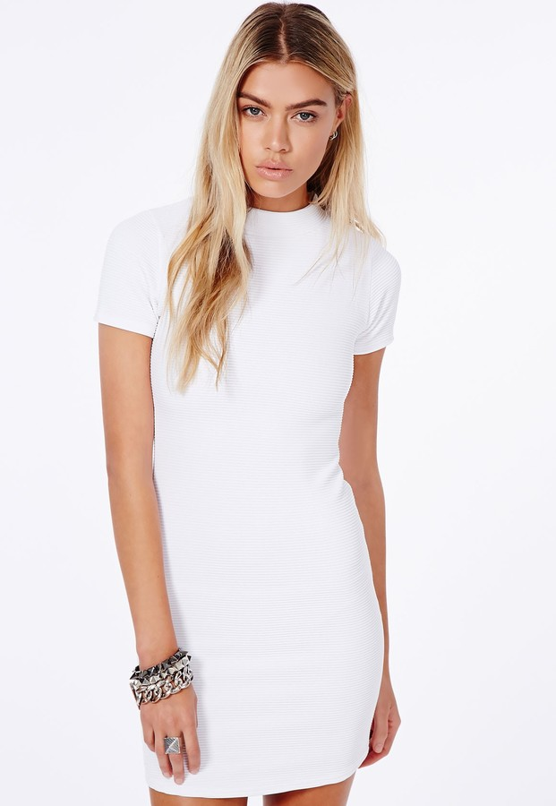 c3cd9e7beada ... Bodycon Dresses Missguided Lystra White Ribbed High Neck Mini Dress ...
