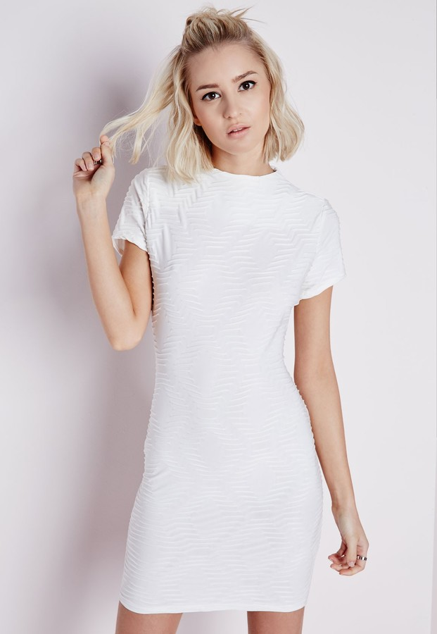de4484fe4b74 ... Missguided Textured High Neck Short Sleeve Bodycon Dress White ...