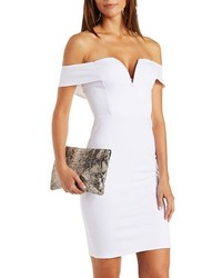 Plunging Off The Shoulder Bodycon Dress