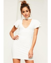 Missguided White Crepe Frill Sleeve Choker Neck Bodycon Dress