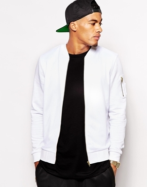 Asos Bomber With Mesh Panel In Jersey White | Where to buy & how ...