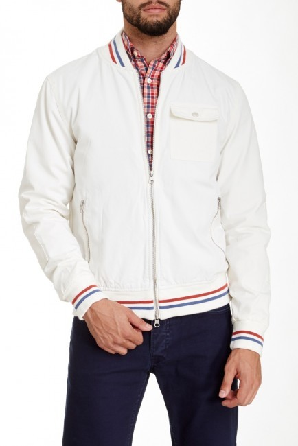 White Baseball Jacket - Coat Nj