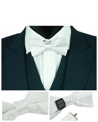TheDapperTie Solid White Silk Pre Tied Bow Tie B98h