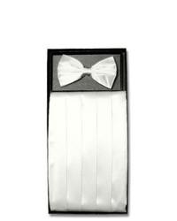 Vesuvio Napoli Silk Cumberbund Bowtie White Cummerbund Bow Tie Set