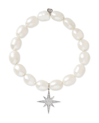 Sydney Evan Starburst Pearl Diamond And 14 Karat White Gold Bracelet