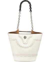 Balenciaga Mini Pickstitch Bucket Bag White