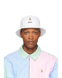 Polo Ralph Lauren White Stretch Cotton Bucket Hat