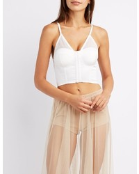 Mesh trim bustier crop top medium 3785228