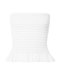 ATM Anthony Thomas Melillo Shirred Cotton Poplin Bustier Top
