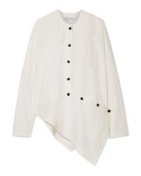 JW Anderson Asymmetric Button Detailed Cotton Blend Poplin Shirt