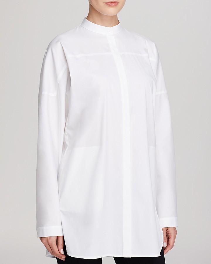 001c0b7bab25e3 ... White Button Down Blouses Lafayette 148 New York Bernice Mandarin  Collar Blouse ...