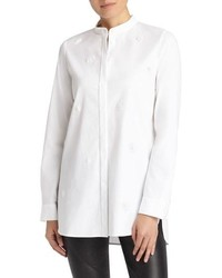 Lafayette 148 New York Brayden Hand Beaded Stretch Cotton Blouse