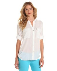 Calvin Klein Crew Roll Sleeve Shirt Button Front Blouse