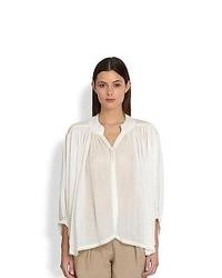 Donna Karan Flared Button Front Blouse White