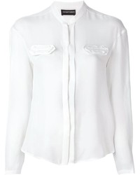 Emporio Armani Chest Detail Band Collar Blouse