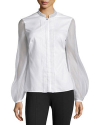 Gauze contrast pleated blouse medium 676708