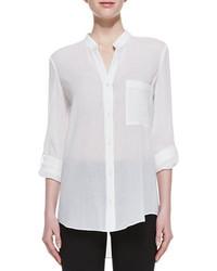 Diane von Furstenberg Gilmore Long Sleeve Translucent Blouse White