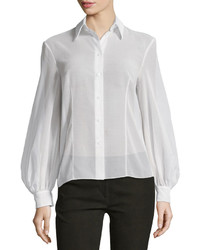 Michl kors bishop sleeve button front blouse optic white medium 637608