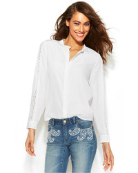 MICHAEL Michael Kors Michl Michl Kors Lace Sleeve Button Front Blouse