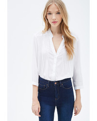 Forever 21 Pintucked Button Down Blouse
