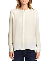 Eileen Fisher Satin Trimmed Silk Blouse