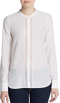 Vince Sheer Panel Silk Blouse