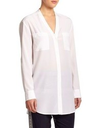 DKNY Silk V Neck Blouse