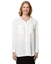 Larry Levine Solid Utility Blouse