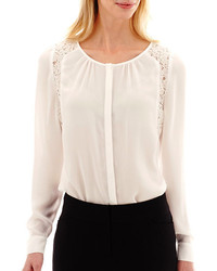 jcpenney Worthington Long Sleeve Lace Inset Blouse