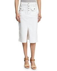 7 For All Mankind Utility Button Front Long Denim Skirt White