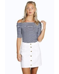 Boohoo Allie Denim Button Front Mini Skirt