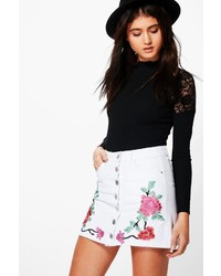 Boohoo Beth Embroidered Button Through Denim Skirt