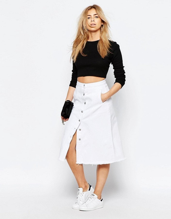 ... White Button Skirts Boohoo Button Denim A Line Midi Skirt ... 800a1f367
