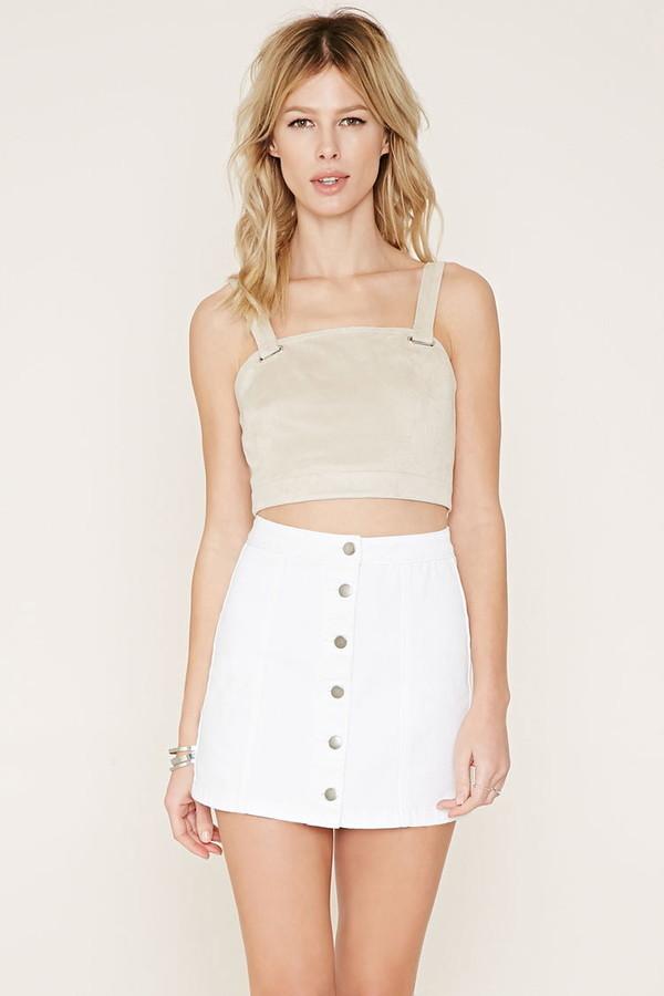 19668ee2b2 Forever 21 Button Front Denim Skirt, $14 | Forever 21 | Lookastic.com