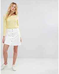 Only Button Front Denim Skirt With Raw Hem