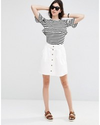 Asos Collection Denim Button Front Mini Skater Skirt In Off White