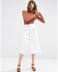 Asos Cord Button Through Midi Skirt In White