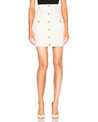 Balmain High Waisted Denim Skirt
