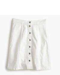 J.Crew Button Front White Denim Mini Skirt