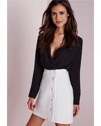 Missguided Button Detail A Line Mini Skirt White