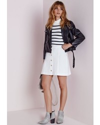 Missguided Button Through Denim Skirt White