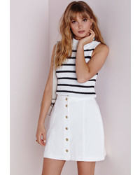 Missguided Button Through Denim Skirt White