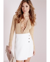 Missguided Gold Button Wrap Mini Skirt White