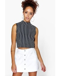 Boohoo Penny Patch Pocket Button Thru Denim Skirt