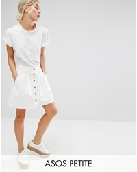 Asos Petite Petite Denim Button Through Skater Skirt In White
