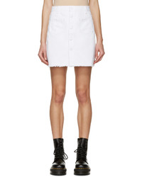 Sjyp White Buttoned Denim Miniskirt