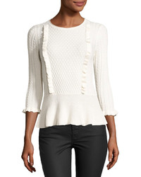 1 STATE 1state Cable Front Peplum Sweater White