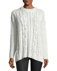 1 STATE 1state Drop Shoulder Cable Knit Sweater Off White