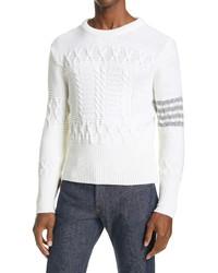 Thom Browne 4 Bar Merino Wool Aran Sweater